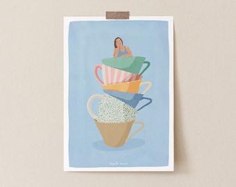 Funny Coffee Addict Illustration Art Print, Coffee Drinker Gift Minimalist Coffee Poster, Funny Kitchen Wall Art Poster, Coffee Art Print