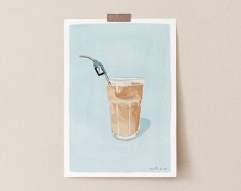 Iced Coffee Addict Illustration Art Print, Funny Coffee Drinker Gift Minimalist Coffee Poster, Funny Kitchen Wall Art Poster, Coffee Print