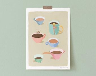 Funny Coffee Art Print, Coffee Cups Wall Art Print, Coffee Lover Gift, Funny Kitchen Print, Funny Coffee Art, Funny Kitchen Art