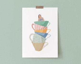 Kitchen Art Coffee Cups Illustration, Watercolor Coffee Cups Kitchen Decor, Pastel Wall Art Coffee Cups, Coffee Cup Kitchen Poster