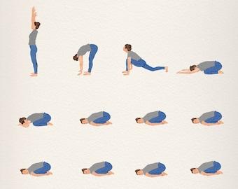 Funny Yoga Illustration Art Print, Yoga Decoration Funny Poster, Meditation Room Art Print Funny, Yoga Wall Art Decor, Funny Yoga Print