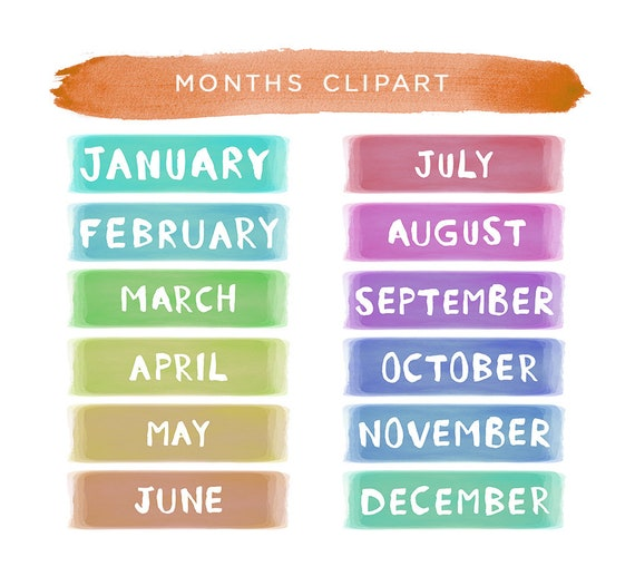 months of the year clipart planner clipart months clipart etsy