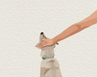 Cute Dog Illustration Wall Art Print, Man's Best Friend Illustration Art, Dog Lover Wall Art Gift, Good Boy Illustration Art Pet Lover