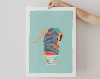 Limited Edition Pile of Laundry Wall Art Print, Laundry Room Decor, Funny Laundry Room Art Print, Sarcastic Wall Art Print Pastel Colors