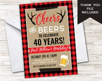 Red invites etsy cheers and beers invitation invite winter red plaid buffalo 5x7 digital adult mens hunting stopboris Choice Image