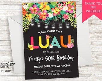 Birthday Luau Invitation Invite Digital ANY AGE 5X7 Hawaiian Tropical 70th 60th 50th 40th 30th Watercolor Floral