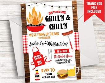 birthday bbq invitation invite grill chill digital 5x7 adult any age backyard party cookout