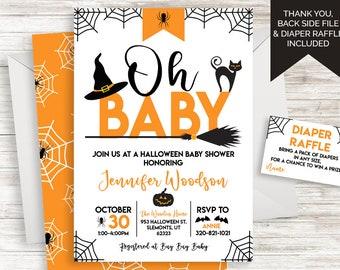 bf2dad3bd03 Halloween Baby Shower Invite Invitation Oh Baby Digital 5x7 Neutral  Sprinkle Diaper Raffle