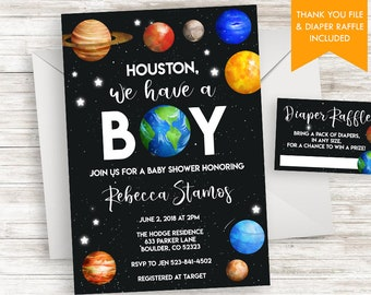 boy space baby shower invitation invite digital sprinkle 5x7 outer universe stellar planets