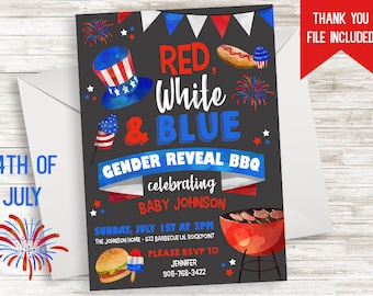 4th of July Gender Reveal Invitation Invite Digital 5x7 Fourth BQQ Party Chalkboard Red White Blue Patriotic