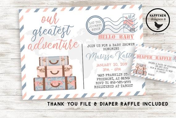 Baby Shower Karte Text.Travel Baby Shower Invitation Invite Digital 7x5 Sprinkle Luggage Adventure Greatest Postcard Postal