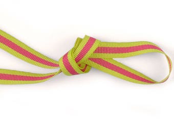 Ribbon grosgrain two-tone pink and green