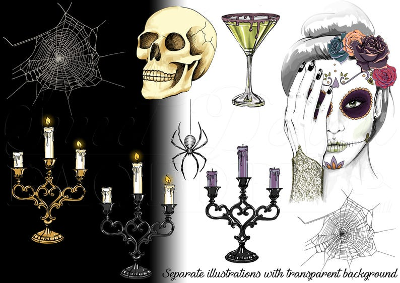 gothic clipart witch clipart skull and flowers clipart spider clipart day of the dead cinco de mayo halloween sugar skull clipart