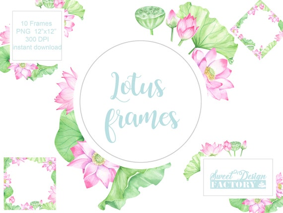 Watercolor Floral Frame Lotus Frame Wedding Clipart Etsy