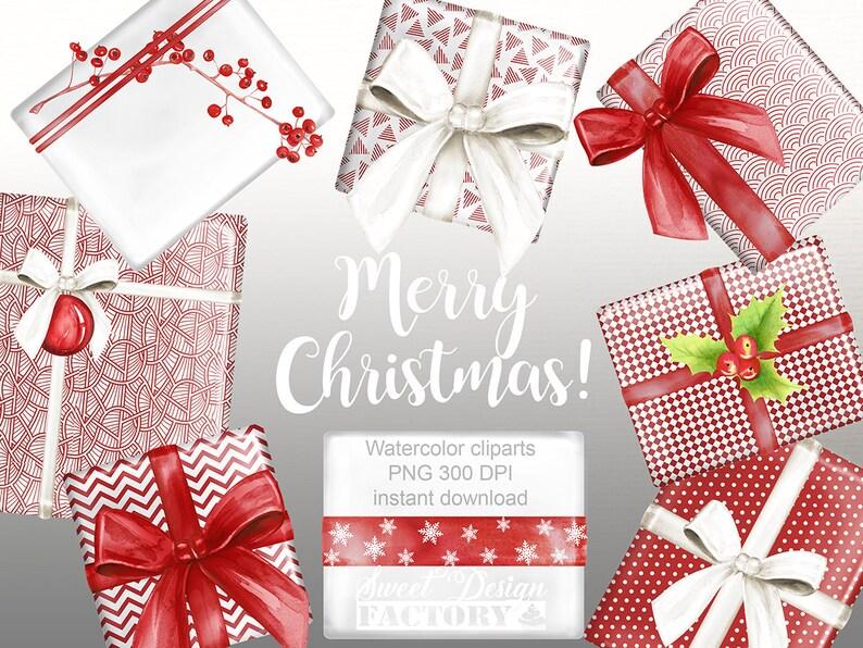Traditionelle Weihnachtsgeschenke.Weihnachten Clipart Geschenke Weihnachten Clipart Aquarell Etsy