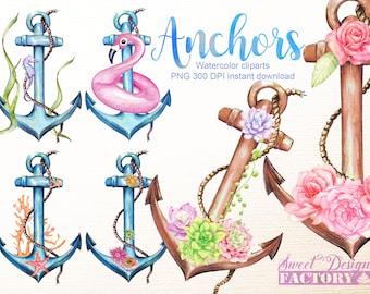 Clipart ancre marine/ fleur clipart/ aquarelle clipart/ aquarelle succulente/ marine clipart / clip art floral/ tatoo clipart