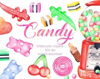 Clipart  bonbon/ aquarelle bonbon/ aquarelle clipart /sucrerie clipart/ invitation clipart/ enfant clipart/ distributeur bonbons