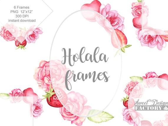 wedding frame, valentine's day frame, flower wreath, watercolor flowers,  floral clip art, romantic frame, baby shower frame