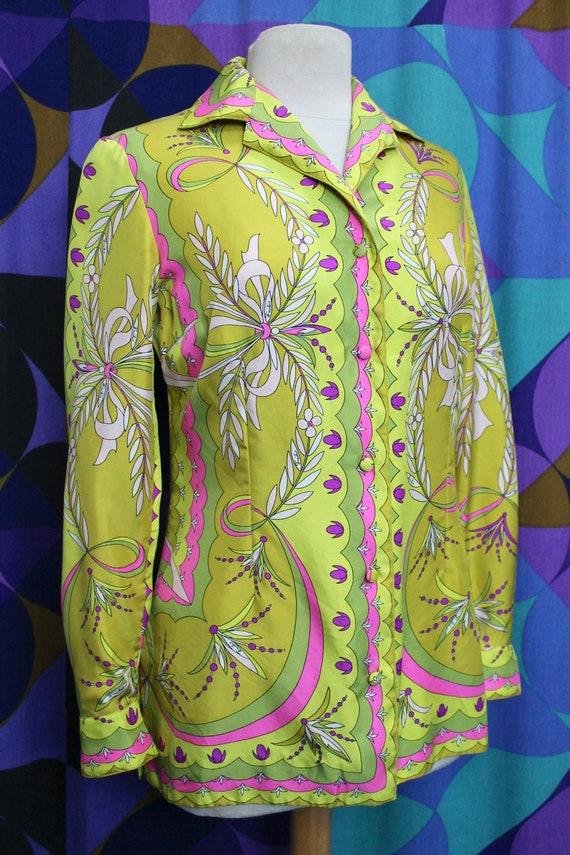 Stunning Vintage Original 60s 100% Pure Silk Emil… - image 4