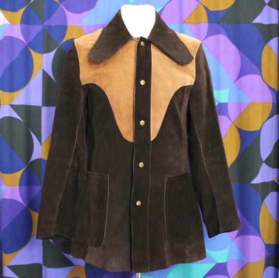 Amazing Vintage 60s 70s Two Tone Brown Suede Poppe