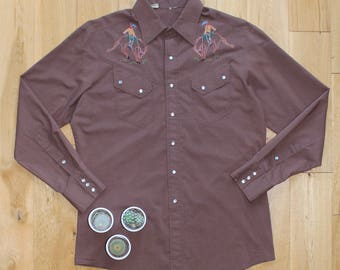 Vintage 70s Brown Embroidered Western Cowboy Shirt Size Large Mens