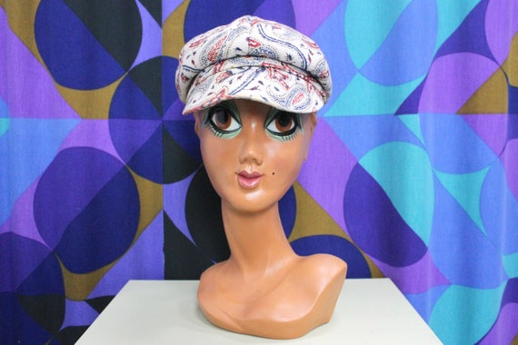 Beautiful 60s Paisley Print Baker Boy Hat