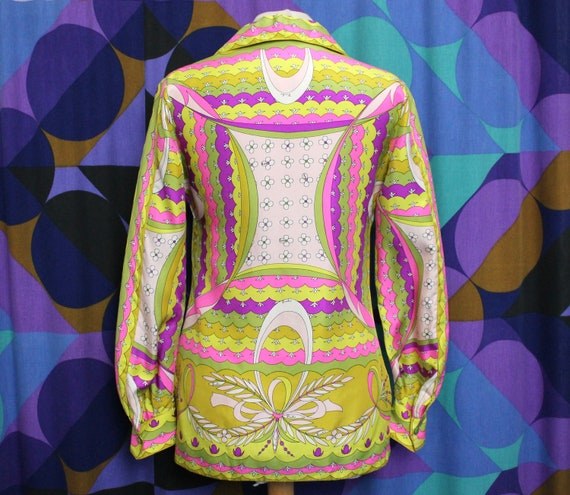 Stunning Vintage Original 60s 100% Pure Silk Emil… - image 2