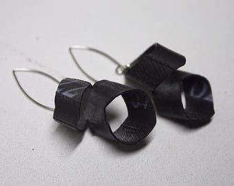 TreadGoods Double Leaf Recycled Bicycle Inner Tube Earrings