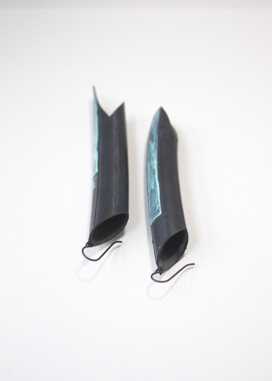 Long Bike Tube Fish-like Painted Earrings