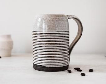 Ceramic Mug | Dark Brown Ceramic with White Glaze