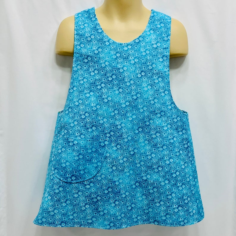 Gift Dress Reversible Pinafore Apron Girl 2-6 Size with Pockets Cooking Daisies on Teal /& Sketched Daisies CrissCross Back Cover-up