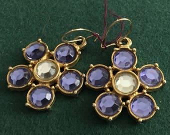 Vintage pierced dangling blue glass cluster earrings