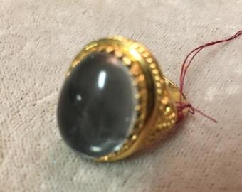 Vintage blue glass ring