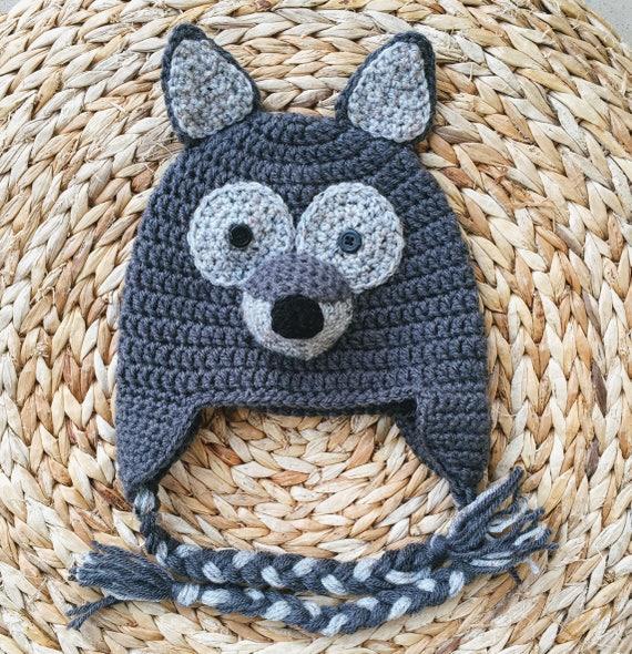 Häkelmütze Wolf / Wolf Mütze Hut Kinder / Baby Mütze / Tier | Etsy