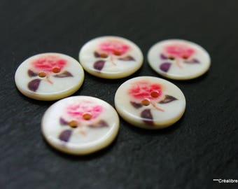 Lot de 5 boutons en nacre 18 mm