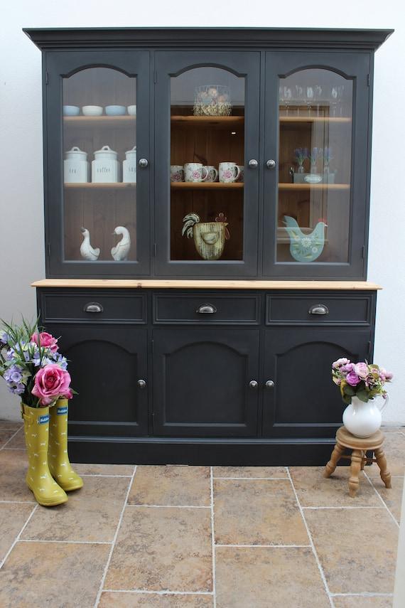 SOLD *** Glazed Pine Dresser Kitchen Larder Cupboard Bookcase Display  Cabinet Hand Painted in Dark Grey
