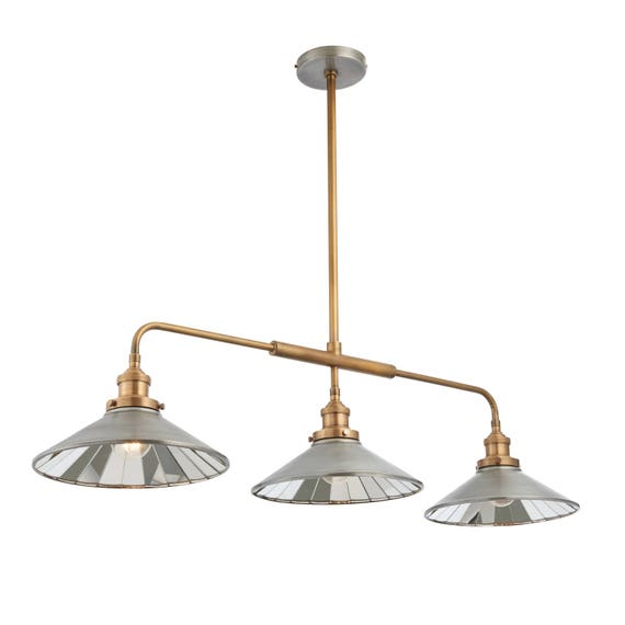 3 Light Kitchen Island Dining Table Triple Pendant Light Antique Zinc Effect New With 2 Year Warranty