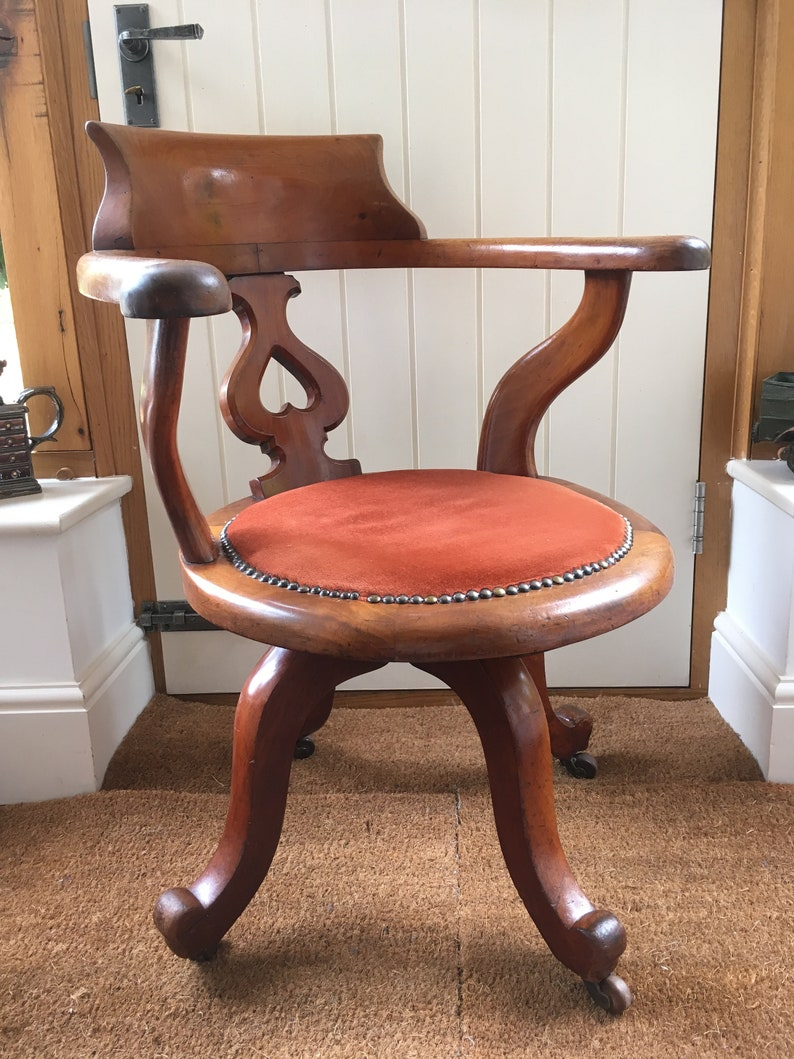 Miraculous Antique Victorian Captains Swivel Desk Office Chair With Upholstered Seat Machost Co Dining Chair Design Ideas Machostcouk