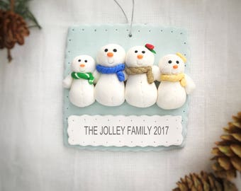 Snowman family ornament, Family of 4 christmas ornament, Snowman family of 4, Family ornament, Gift for family, Gift for friends, Cute gift