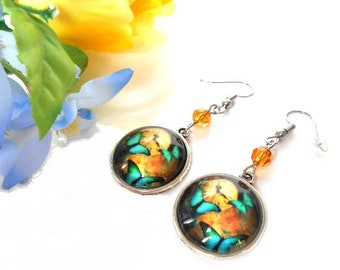 Cabochon earrings Butterfly with a Topaz swarovski crystal bead