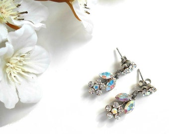 Earrings shaped flower with Crystal and Crystal AB color Swarovski crystals