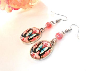 Earrings cabochon blue butterfly on pink background and Pink Pearl clear pink glass with a flower