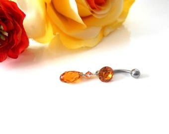 Topaz Swarovski Crystal belly button ring