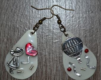 Resin earrings,Handmade earrings,Jewelry,Retro,Airballoon earrings,Bansky girl,Balloon girl,Liquid glass jewelry,Hot air balloon jewelry,