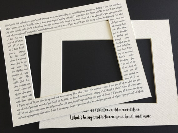 11x14 Custom Picture Mat Frame Any Song Lyrics Quotes Etsy