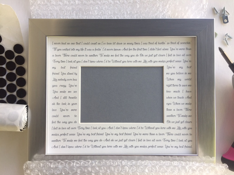My Best Friend  Custom Picture Frame with Song Lyrics image 0