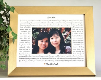 8x10 Custom Photo Frame for Her - Mother's Day, Her Birthday, Notes to Mom, Thank you Mom