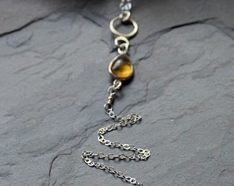 Citrine Teardrop and Sterling Silver Long Lariat Necklace