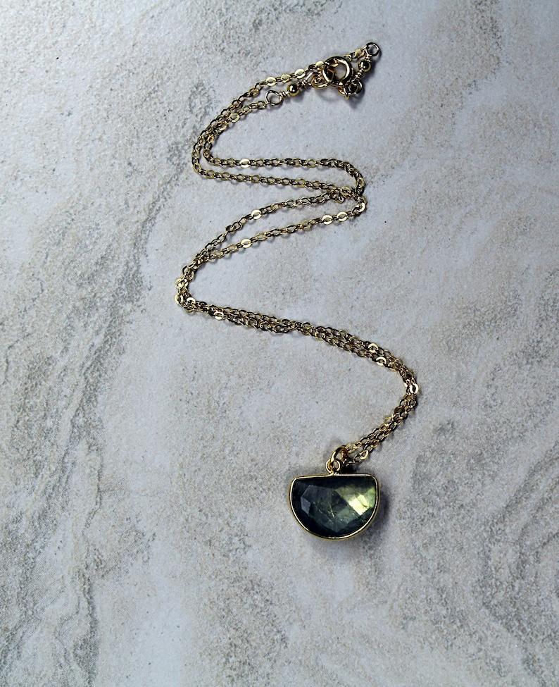 a391a0804d221 Tiny Labradorite 18K Gold Vermeil Half Moon Choker Necklace