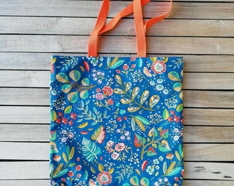 500e806b91 Tote bag sac cabas bleu tissu imprimé fleuri graphique multicolore. Sac  pliable. Sac de courses. Doublure rose saumon. Sangles orange doux